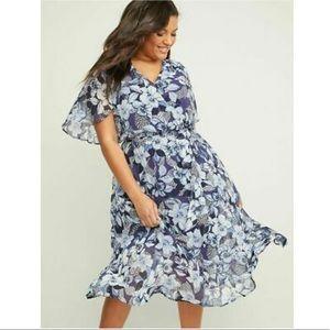 Lane Bryant Floral Chiffon Fit & Flare Dress